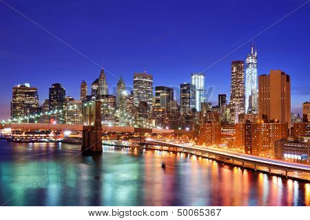 Lower Manhattan from above the East River in New York City.