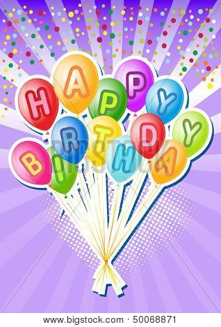 Balloons.Happy birthsday card  with Party element