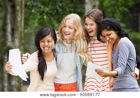 Four Teenage Girls Celebrating Successful Exam Results