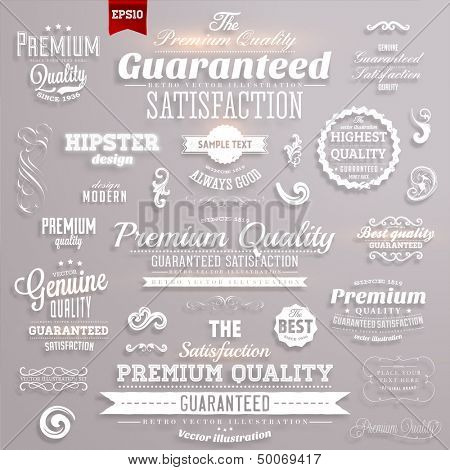 Glowing luminous white premium quality and guaranteed satisfaction labels set