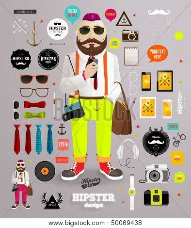 Hipster elements and icons set with Hipster Character for vintage style design