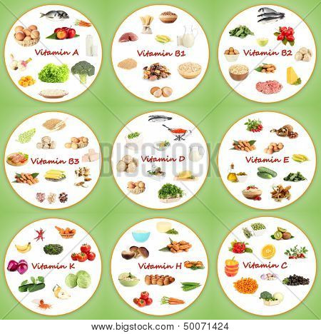 Collage of various food products containing vitamins