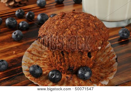 Bran And Flax Seed Muffin With Wild Blueberries