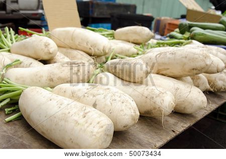 Daikon radish on the marketplace, Taiwan, Asia.