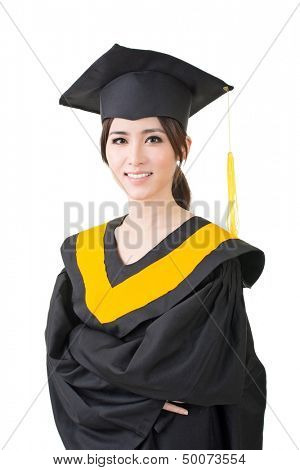 Young beautiful asian graduation woman in mantle posing in studio. Portrait isolated on the white background.