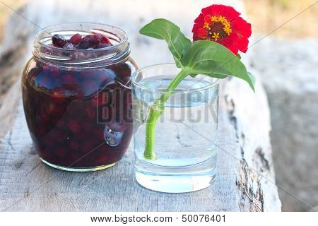 Tumbler With Red Flower And Preserve