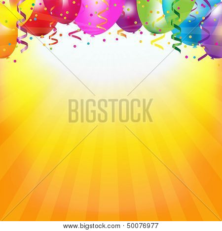 Frame With Colorful Balloons And Sunburst With Gradient Mesh, Vector Illustration