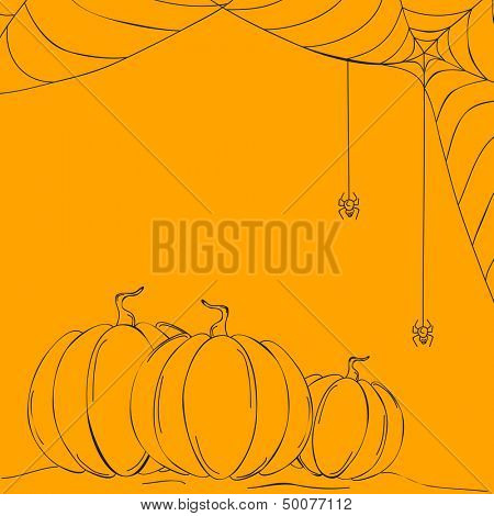 Sketch of pumpkins and spider web on abstract yellow background, can be use as flyer, banner or poster for night parties.