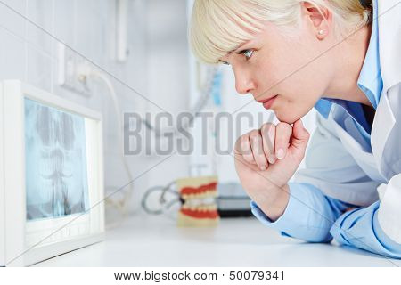 Dentist looking at panoramic radiograph x-ray image of teeth