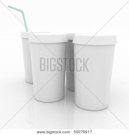 white plastic fast food glasses with blue tubule on a white background