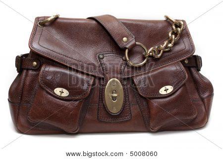 Beautiful Brown Leather Feminine Bag