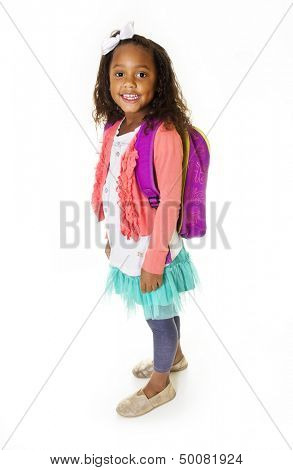 Young School Girl Portrait Isolated