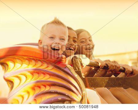 Kids on a Summertime Roller Coaster Ride