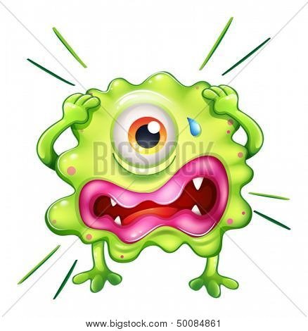 Illustration of a green monster in frustration on a white background