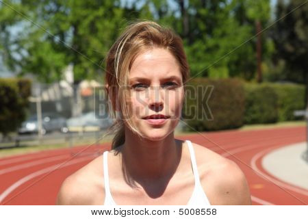 Athletic Girl Running At The Track  Version 2 20