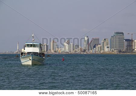 Scenic View Of City Center Tel-aviv From The Sea