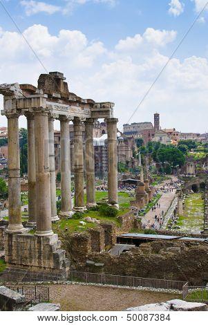 View Of Forum Romanum In Rome. Italy.
