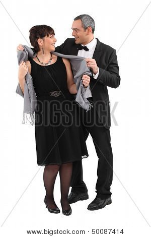 Couple leaving for an evening event