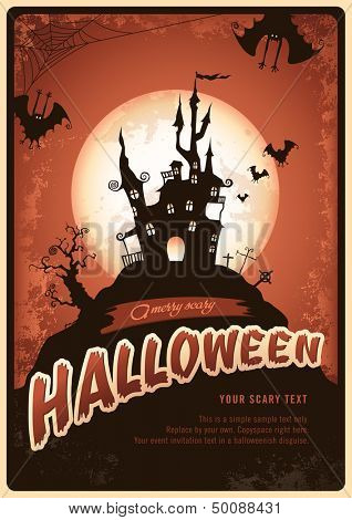 retro halloween poster or invitation with haunted castle and bats