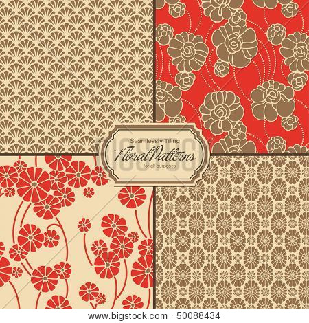 set of asia-inspired floral patterns (tiles saved to the colors/patterns palette