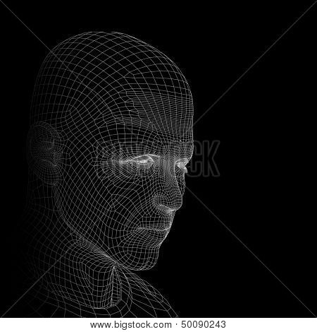 A 3D man or human head made of white wireframe or mesh isolated on black background