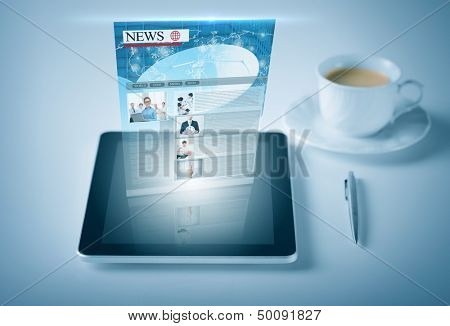 business and technology concept - tablet pc with news feed