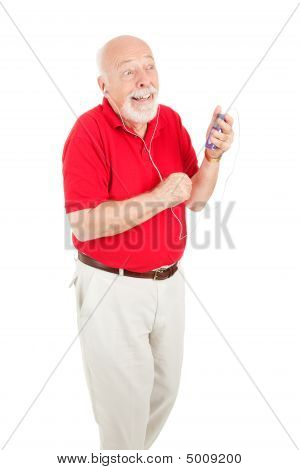 Senior Man Enjoying Tunes