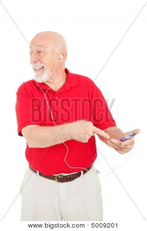 Senior Man Excited About Mp3 Player