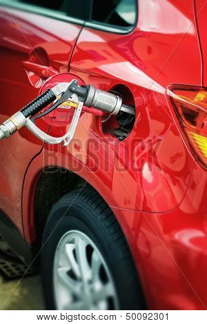 Filling up of liquid gas, LPG at petrol station
