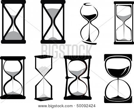 Set of vector hour glasses