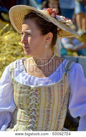 Woman re-enacting New France era