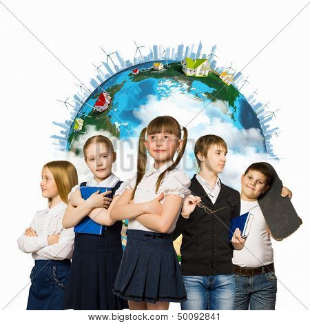 Image of kids of school age. Choosing profession. Elements of this image are furnished by NASA