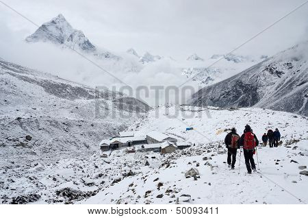 Trekkers going to first Everest Base camp,Nepal