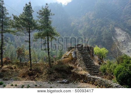 Stone Steps To Place For Ritual Burning Dead People,Himalaya,nepal