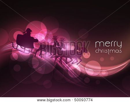 Merry Christmas celebration shiny wave background with Santa Claus is riding on sleigh.