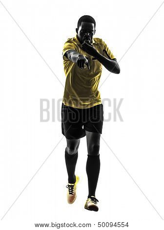 one african man referee  running whistling in silhouette  on white background