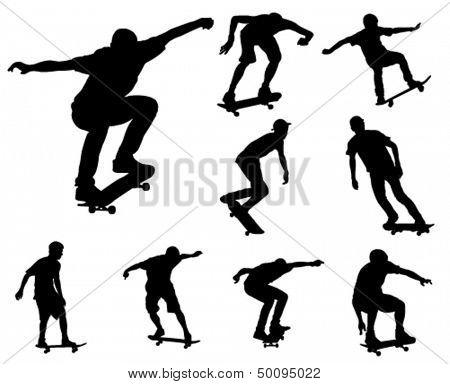 colección de siluetas de los patinadores