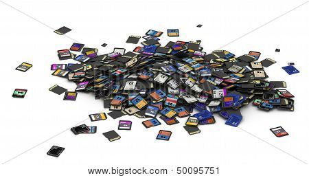 Heap of SD and microSD memory cards