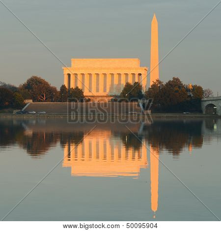 Washington DC - Lincoln Memorial, Washington Monument and reflections over Potomac River