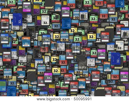 Many of different SD and micro SD memory cards