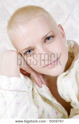 Closeup Portrait Of Young Smiling Bald Bold Woman
