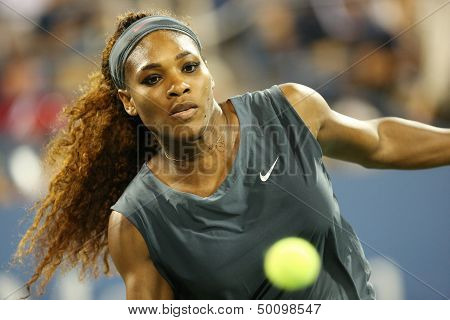 Sixteen times Grand Slam champion Serena Williams during his first round doubles match at USOpen2013