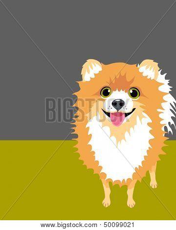 Illustration of a happy funny Pomeranian