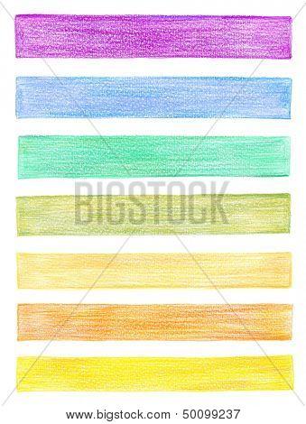 set of color pencil graphic elements