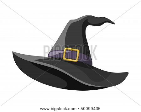 Black witches hat. Vector illustration.