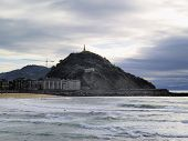 stock photo of basque country  - La Zurriola Beach in Donostia  - JPG