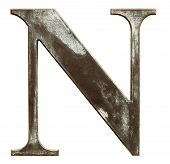 stock photo of letter n  - Worn and dirty metallic letter N isolated on white - JPG