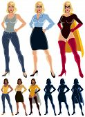stock photo of transformation  - Ordinary woman transforms into superheroine - JPG