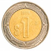 pic of pesos  - one mexican peso coin isolated on white background - JPG