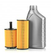 image of oil can  - Car oil filters and motor oil can isolated on white - JPG